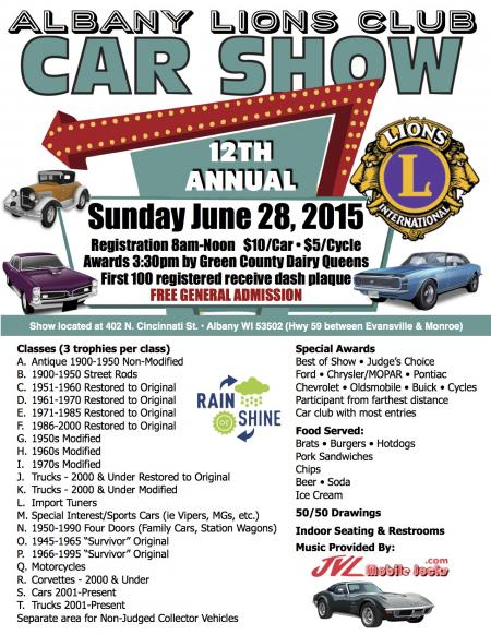 Annual albany lions club car show for National general motor club